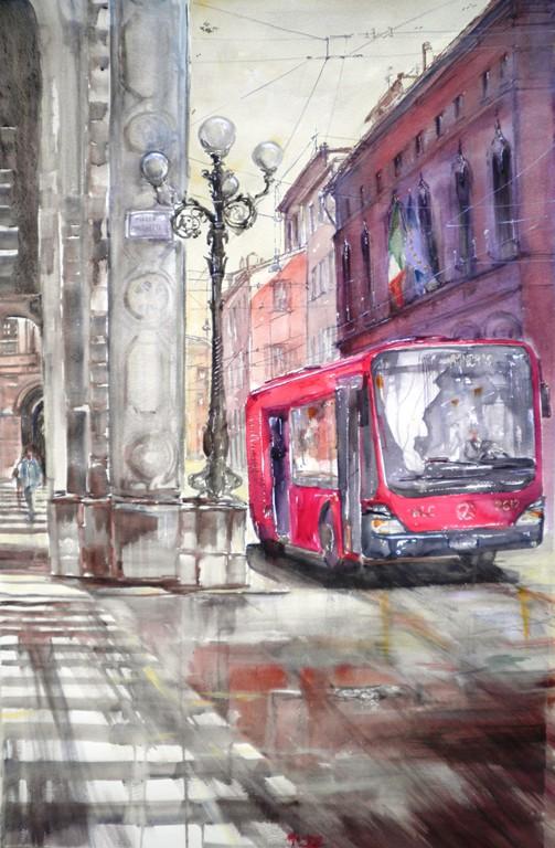 Bologna, Piazza Minghetti, acquerello su carta 120x80