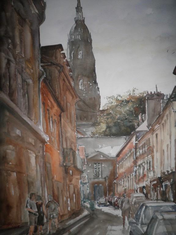 Città della Francia, acquerello su carta 36x56