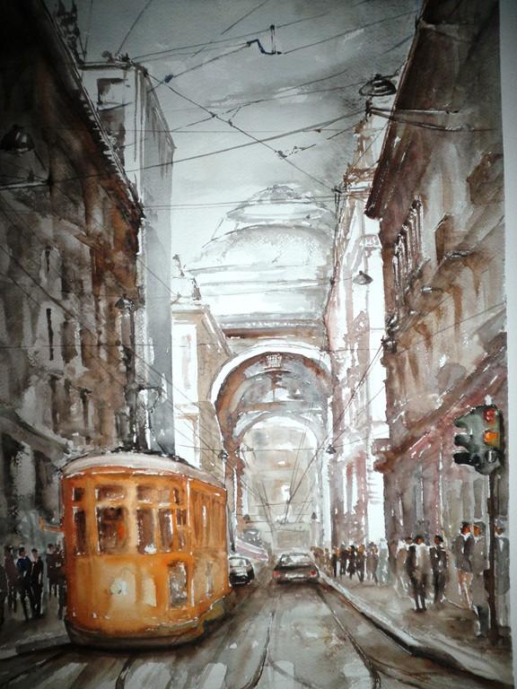 Milano, acquerello su carta 56x56