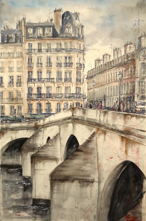 Parigi, acquerello su carta 120x80
