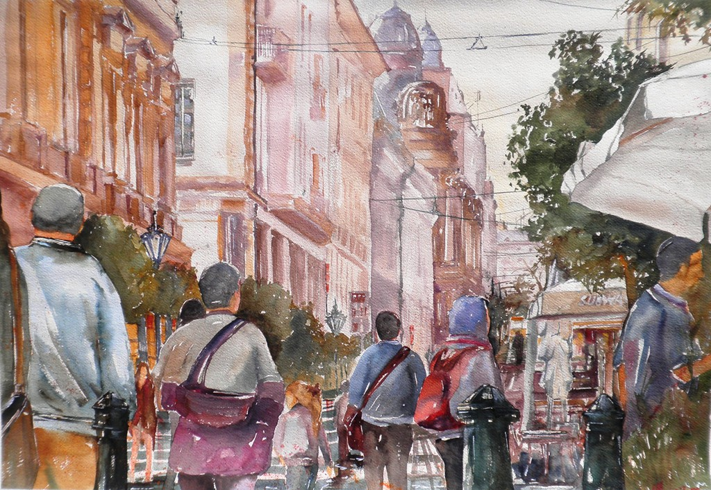 Turisti a Baku, acquerello su carta 100x70